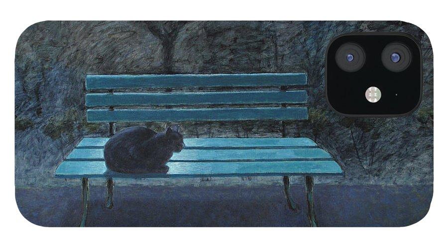 Black Cat iPhone 12 Case featuring the painting Night in the Garden by Raimonda Jatkeviciute-Kasparaviciene