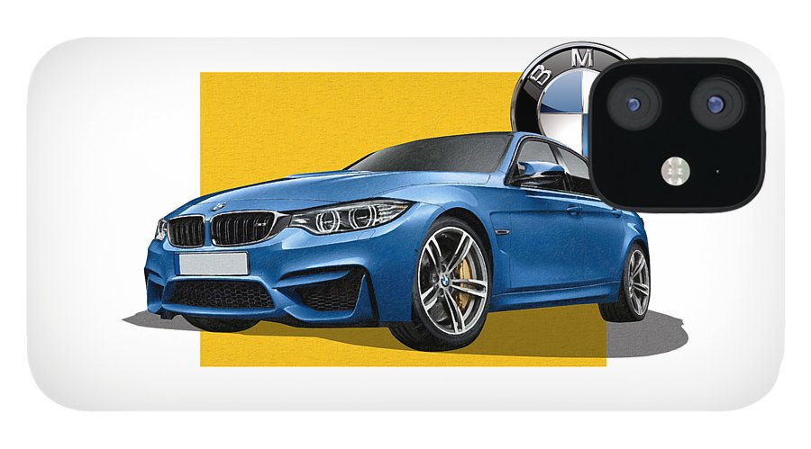 �bmw� Collection By Serge Averbukh IPhone 12 Case featuring the photograph 2016 B M W M 3 Sedan with 3 D Badge by Serge Averbukh