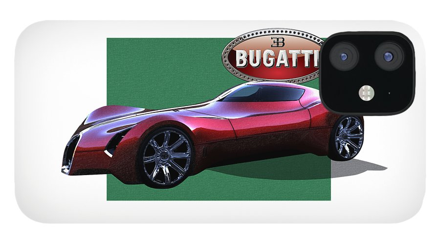�bugatti� By Serge Averbukh IPhone 12 Case featuring the photograph 2025 Bugatti Aerolithe Concept with 3 D Badge by Serge Averbukh