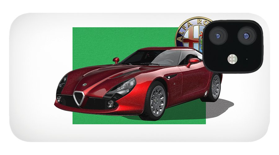�alfa Romeo� By Serge Averbukh IPhone 12 Case featuring the photograph Alfa Romeo Zagato T Z 3 Stradale with 3 D Badge by Serge Averbukh