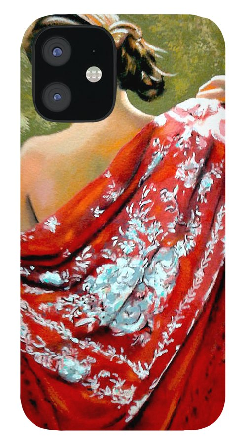 Red IPhone 12 Case featuring the painting aly by Jose Manuel Abraham