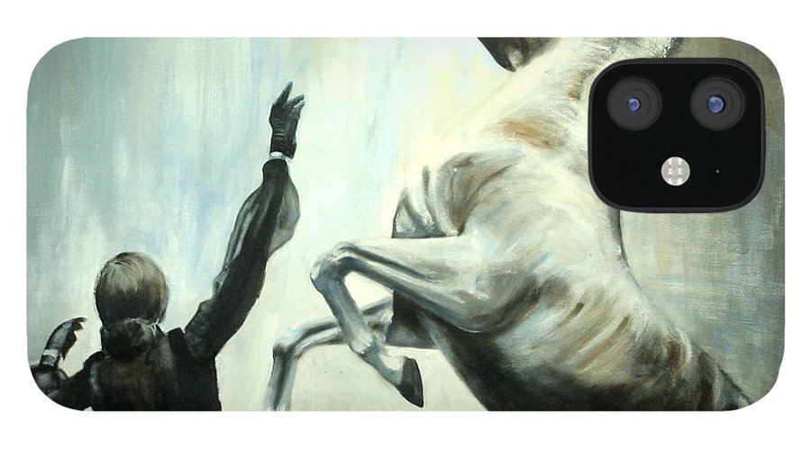 Horses IPhone 12 Case featuring the painting Amazing Grace by Fiona Jack