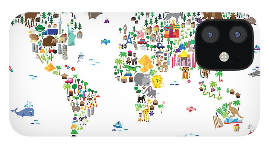 Map Of The World iPhone 12 Case featuring the digital art Animal Map of the World for children and kids by Michael Tompsett