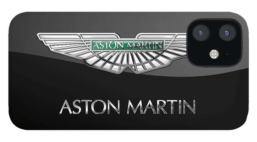 'wheels Of Fortune� Collection By Serge Averbukh IPhone 12 Case featuring the photograph Aston Martin 3 D Badge on Black by Serge Averbukh