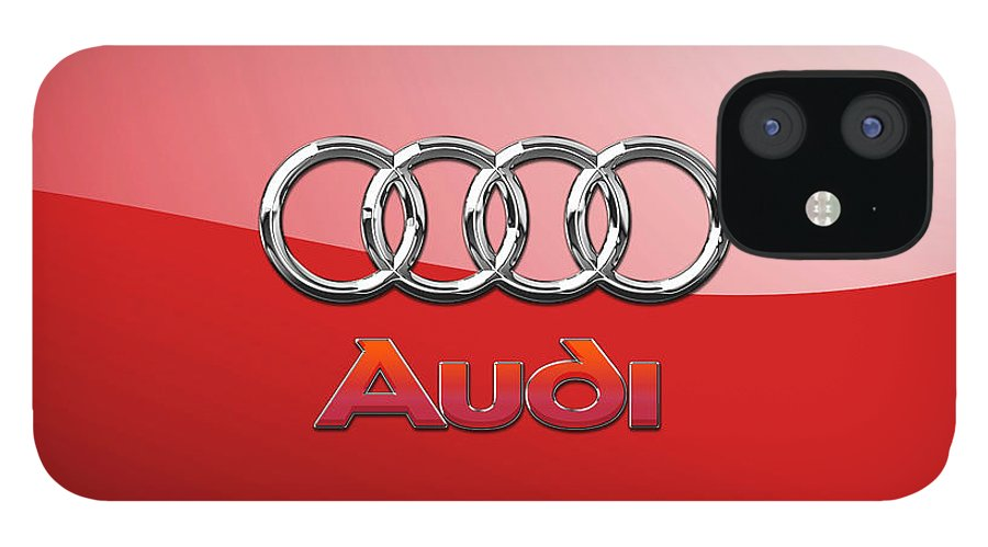 Wheels Of Fortune By Serge Averbukh IPhone 12 Case featuring the photograph Audi - 3D Badge on Red by Serge Averbukh