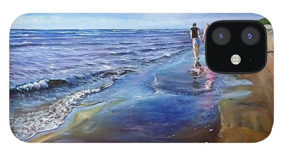Sea iPhone 12 Case featuring the painting Baltic beach by Natalja Picugina