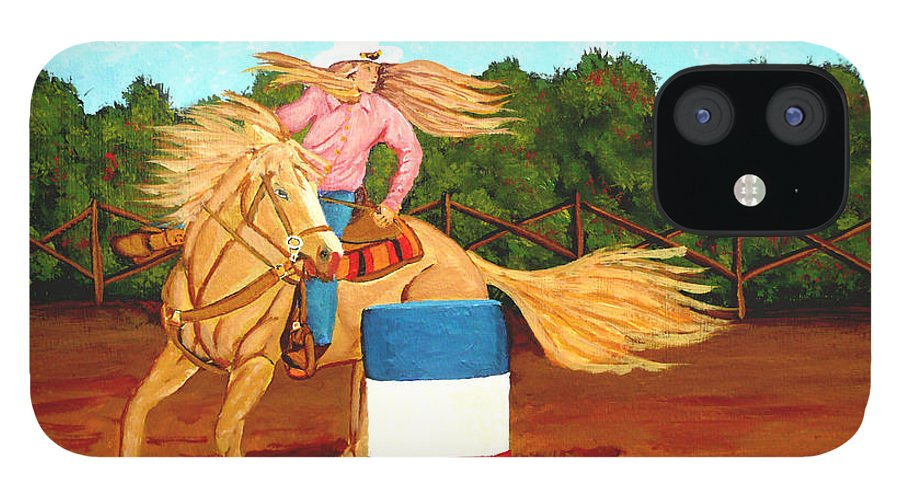 Rodeo IPhone 12 Case featuring the painting Barrel Racer by Anthony Dunphy