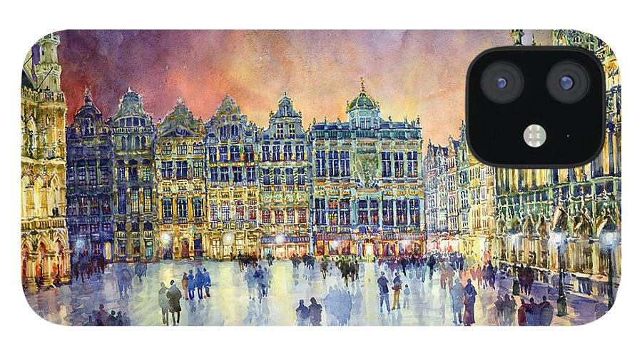 Watercolor iPhone 12 Case featuring the painting Belgium Brussel Grand Place Grote Markt by Yuriy Shevchuk