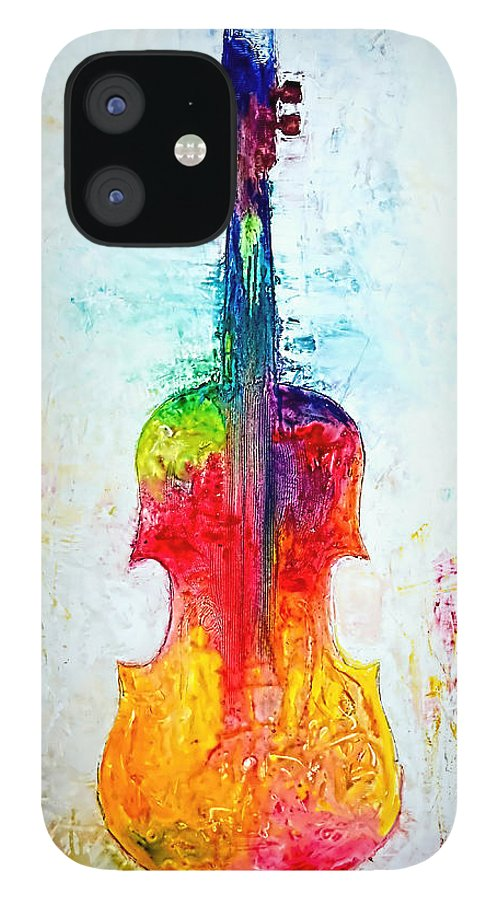 Music IPhone 12 Case featuring the mixed media Beyond the Strings by Ivan Guaderrama
