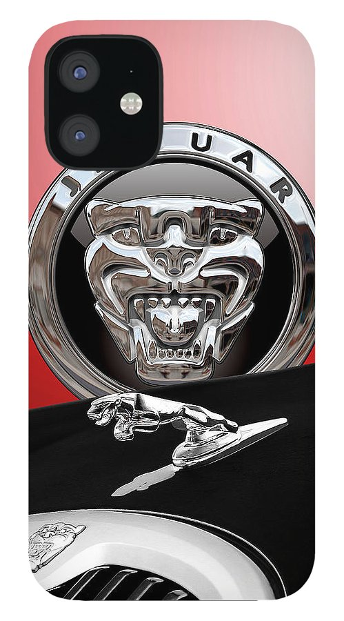 'auto Badges' Collection By Serge Averbukh IPhone 12 Case featuring the photograph Black Jaguar - Hood Ornaments and 3 D Badge on Red by Serge Averbukh
