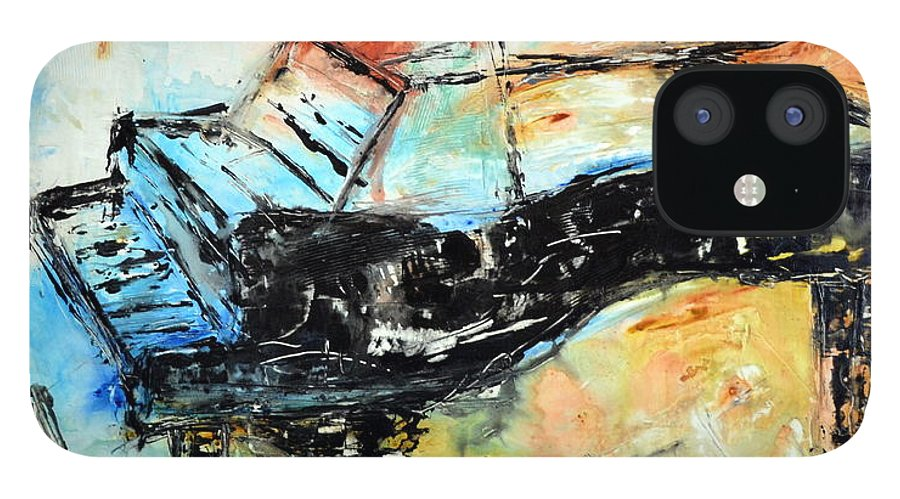 Music IPhone 12 Case featuring the mixed media Blue Keys by Ivan Guaderrama