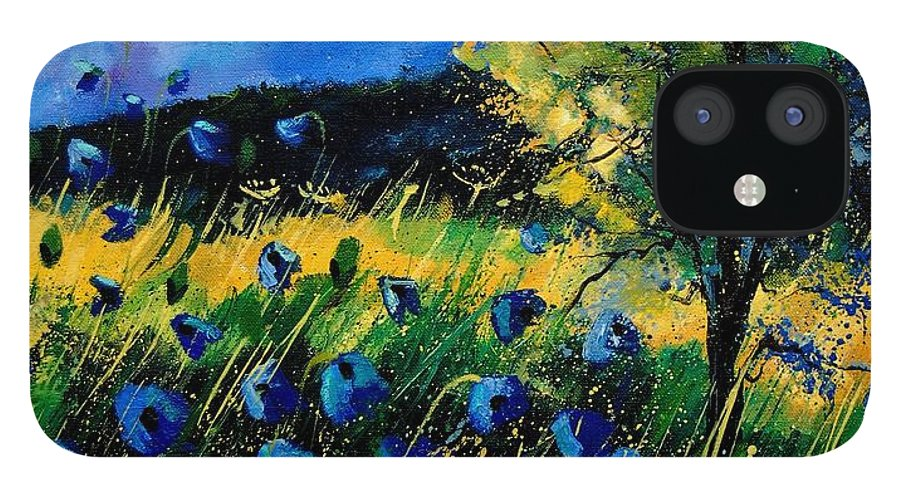 Poppies IPhone 12 Case featuring the painting Blue poppies by Pol Ledent