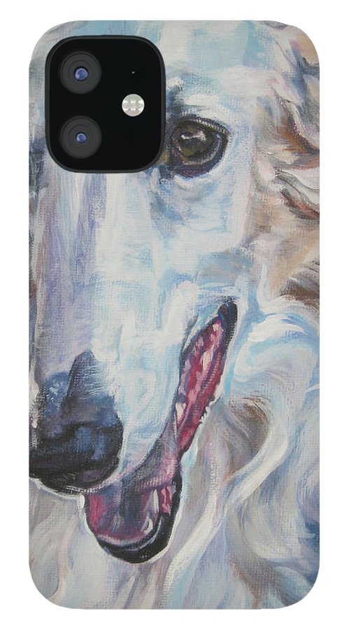 Borzoi IPhone 12 Case featuring the painting Borzoi by Lee Ann Shepard