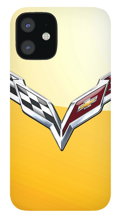 �wheels Of Fortune� Collection By Serge Averbukh IPhone 12 Case featuring the photograph Chevrolet Corvette 3D Badge on Yellow by Serge Averbukh
