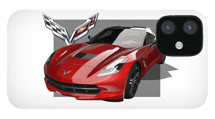 �chevrolet Corvette� By Serge Averbukh IPhone 12 Case featuring the photograph Chevrolet Corvette C 7 Stingray with 3 D Badge by Serge Averbukh