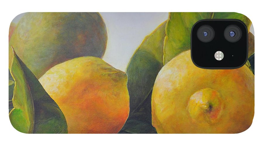 Acrylic Painting IPhone 12 Case featuring the painting Citrons by Muriel Dolemieux
