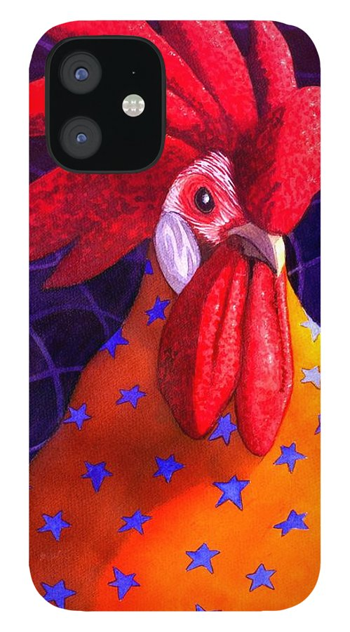 Rooster IPhone 12 Case featuring the painting Cock A Doodle Dude by Catherine G McElroy