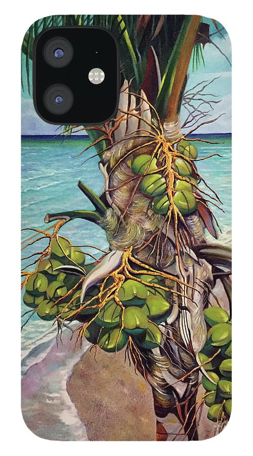 Coconuts IPhone 12 Case featuring the painting Coconuts on beach by Jose Manuel Abraham