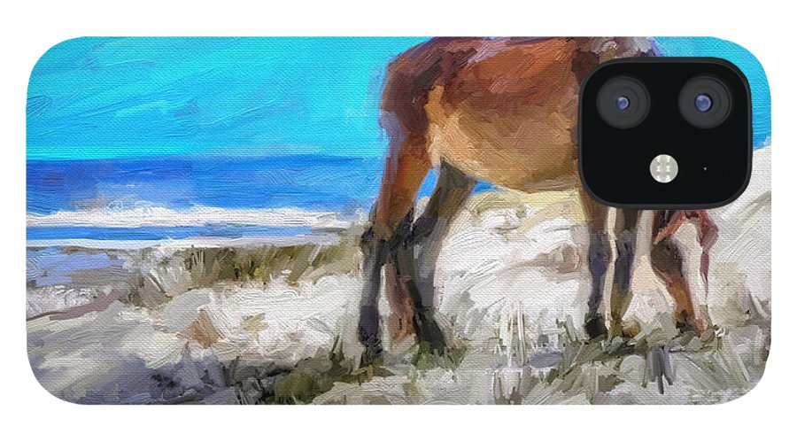 Cumberland Island Pony Horse IPhone 12 Case featuring the digital art Cumberland Pony by Scott Waters