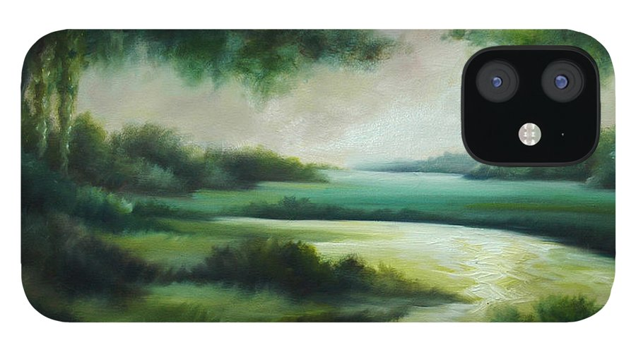 Bright Clouds; Sunsets; Reflections; Ocean; Water; Purple; Orange; Storms; Lightning; Contemporary; Abstract; Realism; James Christopher Hill; James Hill Studios; James C. Hilll; Forest; Flowers; Trees; Green; River; Water IPhone 12 Case featuring the painting Emerald Forest by James Christopher Hill