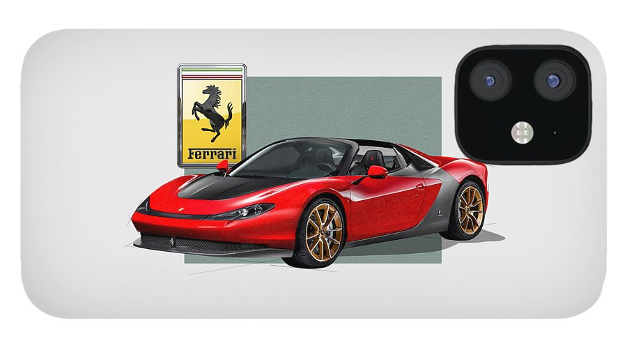 �ferrari� Collection By Serge Averbukh IPhone 12 Case featuring the photograph Ferrari Sergio with 3D Badge by Serge Averbukh