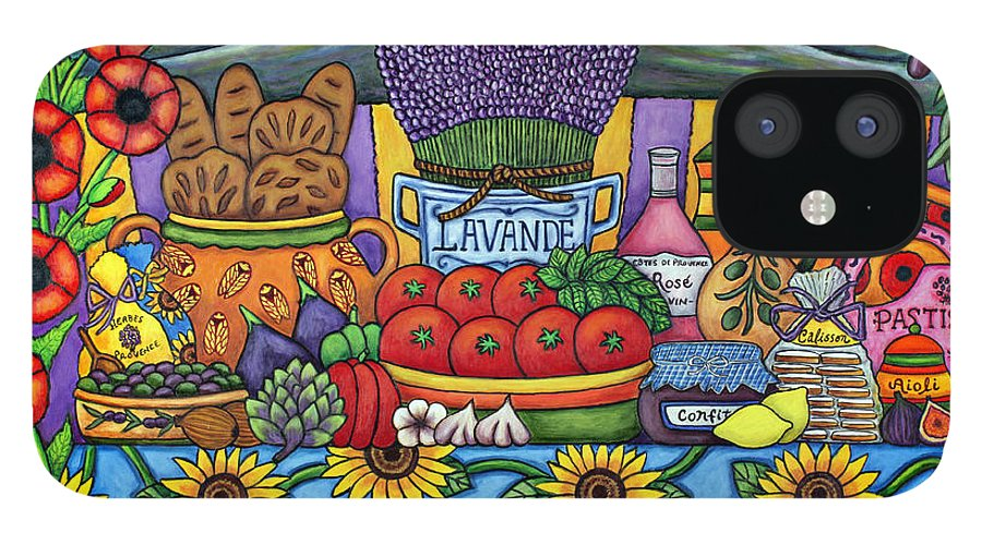 Provence IPhone 12 Case featuring the painting Flavours of Provence by Lisa Lorenz