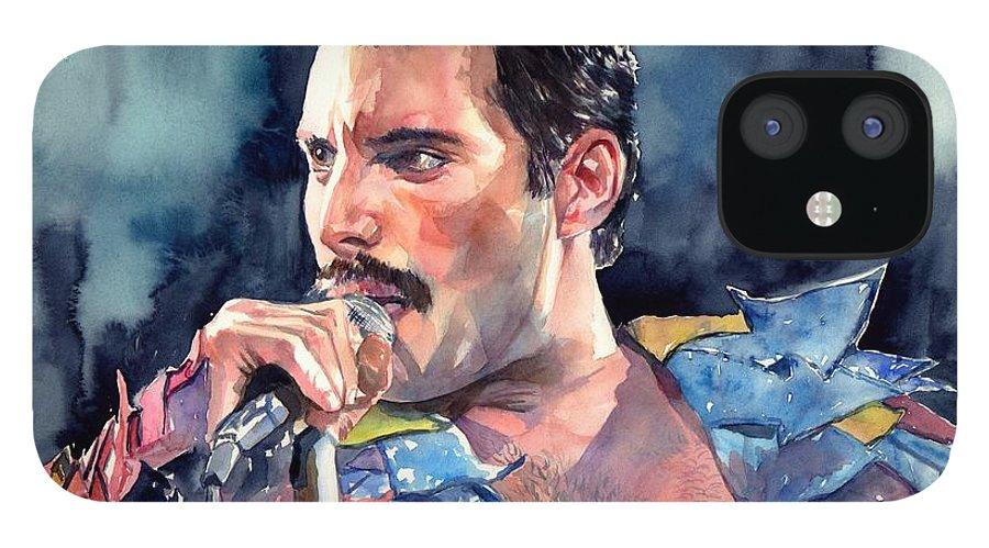Freddie iPhone 12 Case featuring the painting Freddie Mercury portrait by Suzann Sines