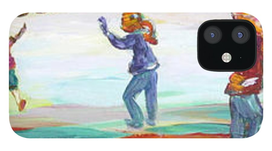 Kids Flying Kites And Playing Soccer In The Park iPhone 12 Case featuring the painting Fun in the Park by Naomi Gerrard