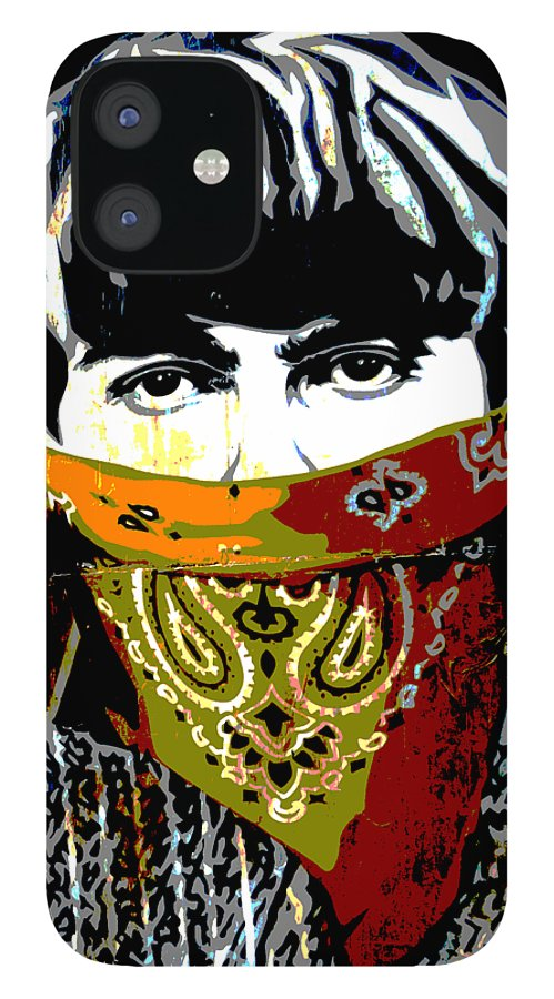 Banksy IPhone 12 Case featuring the photograph George Harrison wearing a face mask by RicardMN Photography