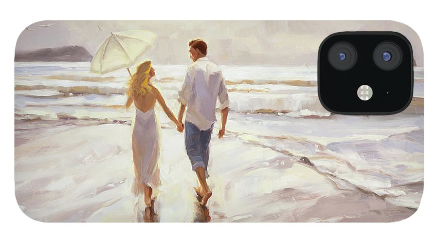 Romantic IPhone 12 Case featuring the painting Hand in Hand by Steve Henderson