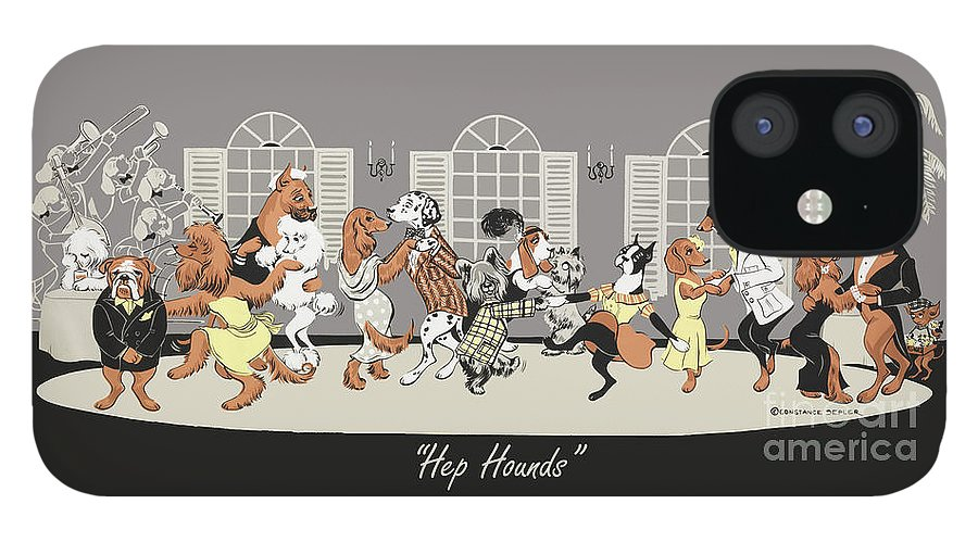 Dogs IPhone 12 Case featuring the painting Hep hounds by Constance Depler