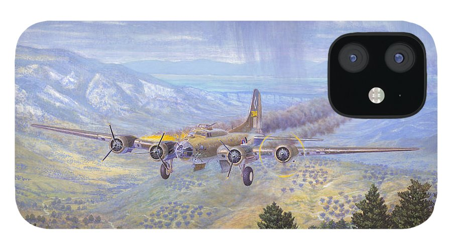99th Bomb Group iPhone 12 Case featuring the painting Her Majestys Last Landing by Scott Robertson