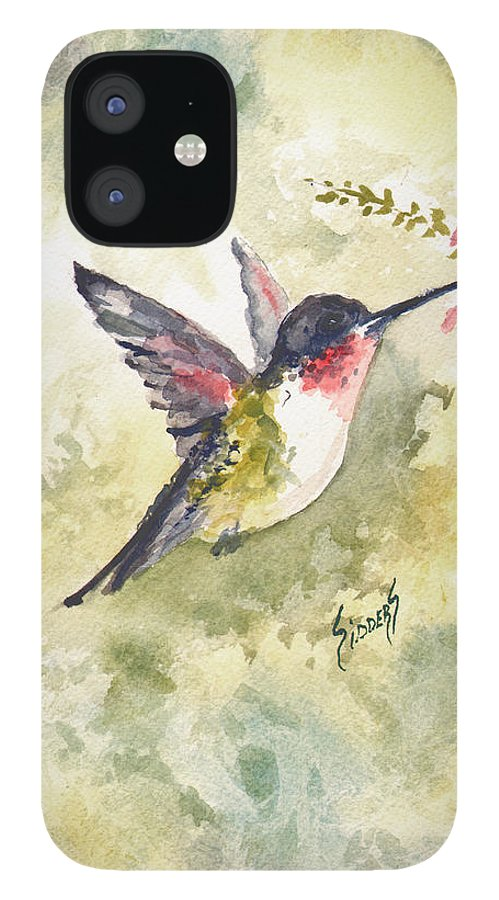 Hummingbird iPhone 12 Case featuring the painting Hummingbird by Sam Sidders