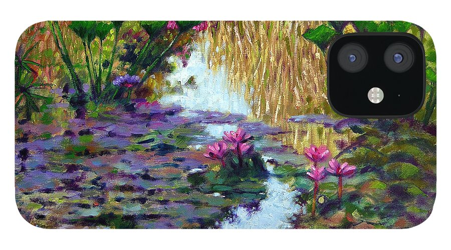 Garden Pond IPhone 12 Case featuring the painting Impressions of Summer Colors by John Lautermilch