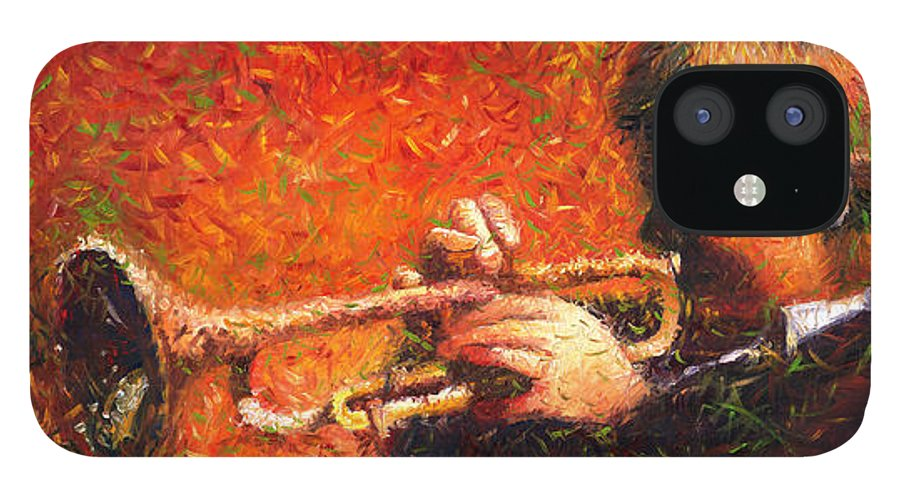 Jazz IPhone 12 Case featuring the painting Jazz Trumpeter by Yuriy Shevchuk