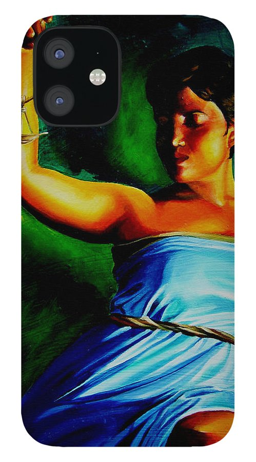 Law Art IPhone 12 Case featuring the painting Lady Justice by Laura Pierre-Louis