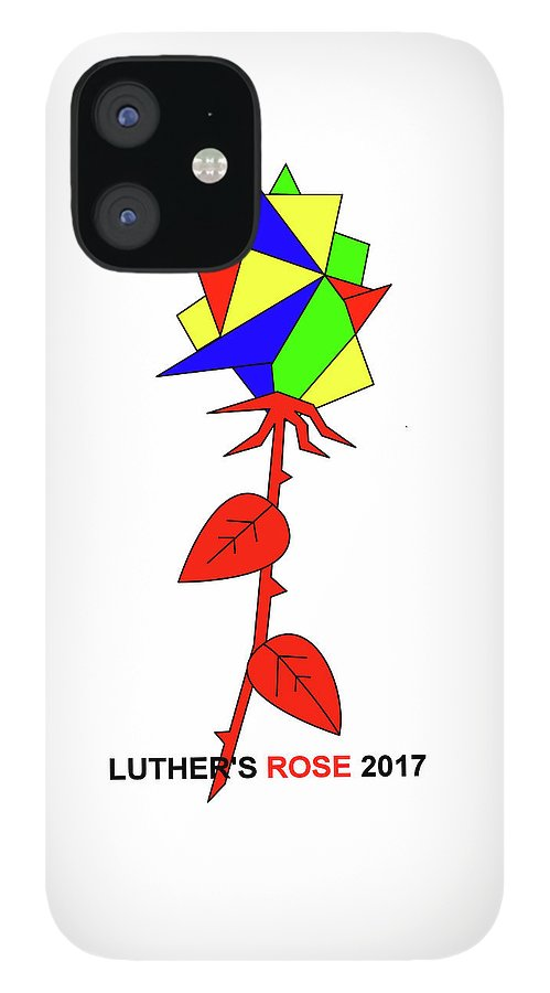 New Rose IPhone 12 Case featuring the mixed media Luthers New Rose by Asbjorn Lonvig
