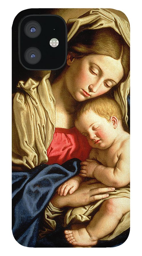 Mary IPhone 12 Case featuring the painting Madonna and Child by Il Sassoferrato