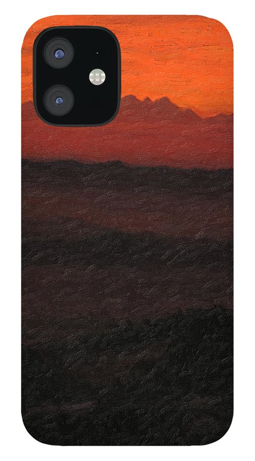 �not Quite Rothko� Collection By Serge Averbukh IPhone 12 Case featuring the photograph Not quite Rothko - Blood Red Skies by Serge Averbukh