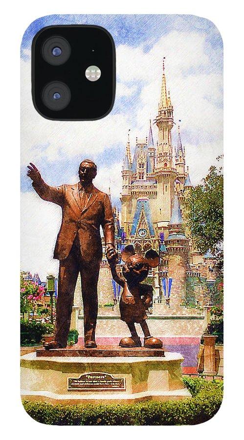 Disney IPhone 12 Case featuring the digital art Partners by Sandy MacGowan