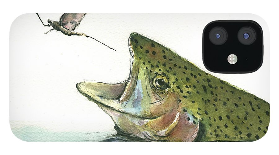 Rainbow Trout IPhone 12 Case featuring the painting Rainbow trout by Juan Bosco