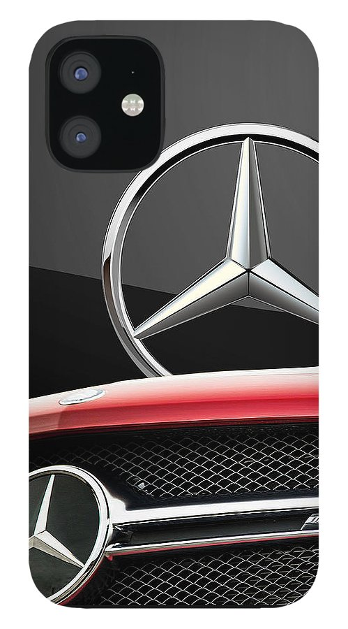 'auto Badges' By Serge Averbukh IPhone 12 Case featuring the photograph Red Mercedes - Front Grill Ornament and 3 D Badge on Black by Serge Averbukh