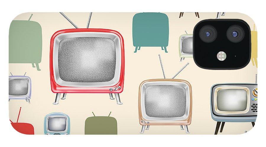 Analog IPhone 12 Case featuring the painting retro TV pattern by Setsiri Silapasuwanchai