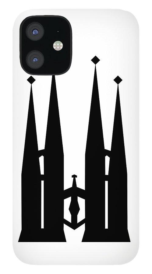 iPhone 12 Case featuring the mixed media Sagrada Familia by Asbjorn Lonvig