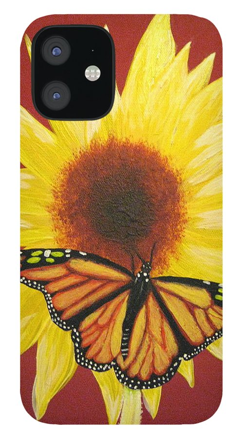 Sunflower IPhone 12 Case featuring the painting Sunflower Monarch by Debbie Levene