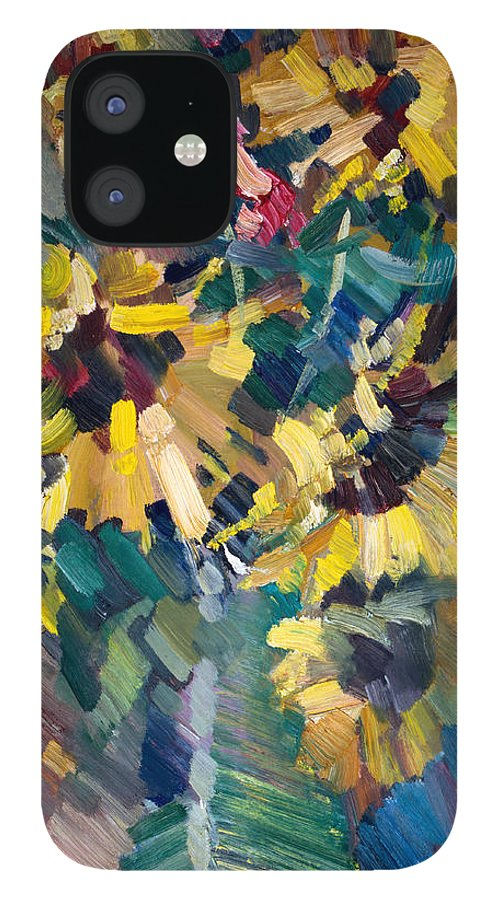 Flowers IPhone 12 Case featuring the painting Sunflowers by Nikolay Malafeev