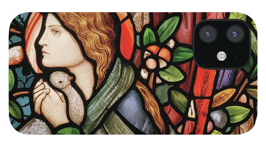 The Annunciation IPhone 12 Case featuring the glass art The Annunciation by Edward Coley Burne-Jones