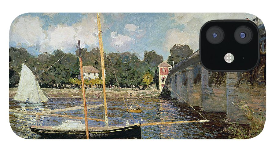Boat IPhone 12 Case featuring the painting The Seine at Argenteuil by Claude Monet