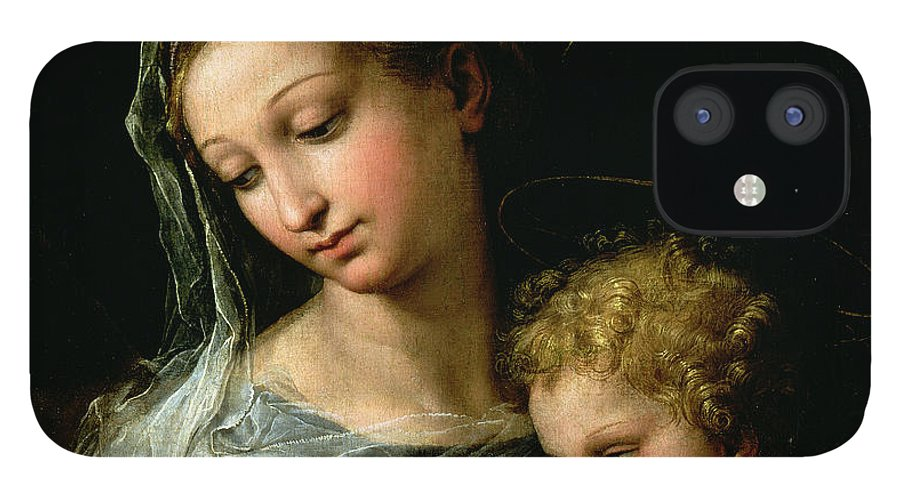 Raphael IPhone 12 Case featuring the painting The Virgin of the Rose by Raphael