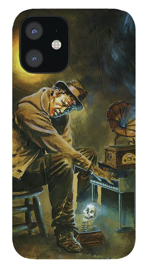 Tom Waits iPhone 12 Case featuring the painting Tom Waits by Ken Meyer jr